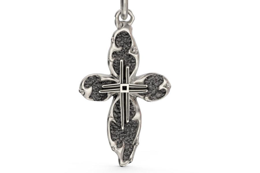 Необычный серебряный нательный крестик без образа Хреста