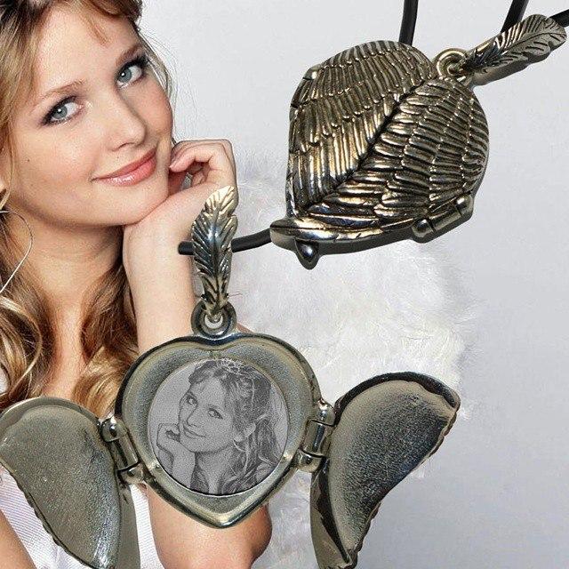 Открывающийся медальон крылья ангела