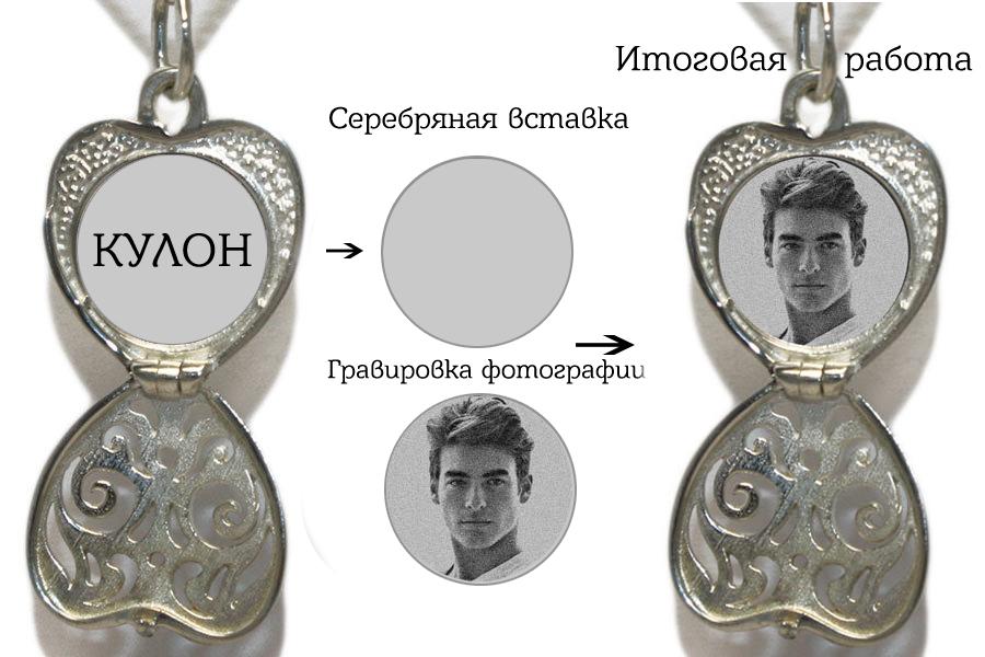 Серебряный открывающийся медальон сердце